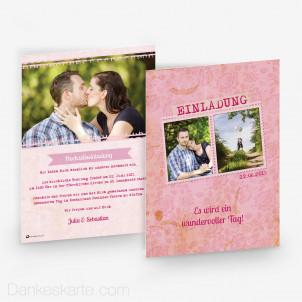 Hochzeitseinladung Pink Stamp 15 x 21 cm