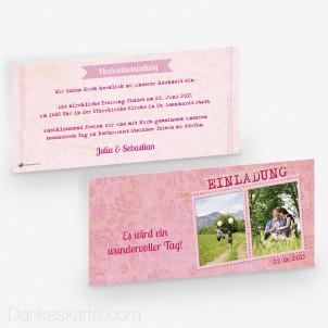 Hochzeitseinladung Pink Stamp 21 x 10 cm