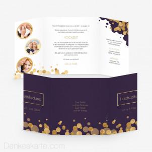 Hochzeitseinladung Purple Gold 14.5 x 14.5 cm Fensterfalz