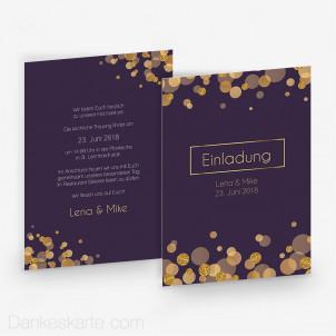 Hochzeitseinladung Purple Gold 15 x 21 cm