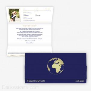 Hochzeitseinladung Reisepass Globus 21.5 x 10.5 cm Wickelfalz