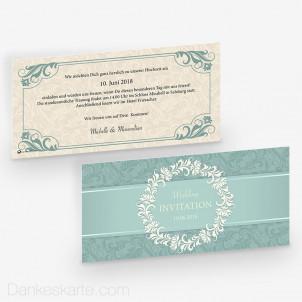 Hochzeitseinladung Royal Mint 21 x 10 cm