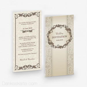 Hochzeitseinladung Royal Creamy 10 x 21 cm