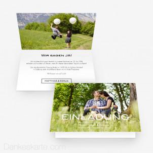 Hochzeitseinladung Schlicht Schön 15 x 10 cm Vertikalklappkarte