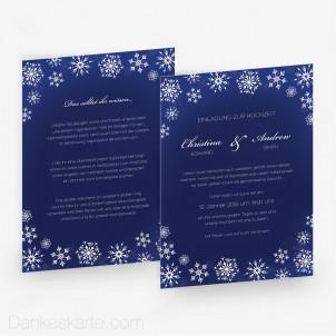 Hochzeitseinladung Schneeflocken 15 x 21 cm