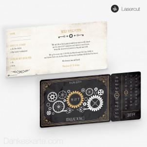 Hochzeitseinladung Steampunk Ticket 21 x 10 cm
