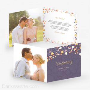 Hochzeitseinladung Streublumen 14.5 x 14.5 cm