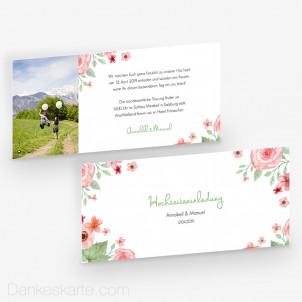 Hochzeitseinladung Total Floral 21 x 10 cm