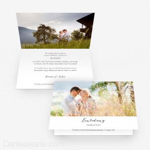 Hochzeitseinladung Understatement 15 x 10 cm Vertikalklappkarte
