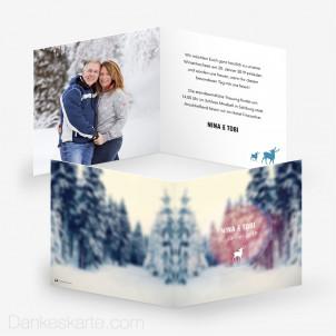 Hochzeitseinladung Winter Wonderland 14.5 x 14.5 cm