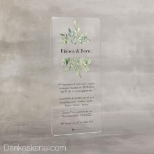 Hochzeitseinladung Acrylkarte Greenery 9 x 20 cm
