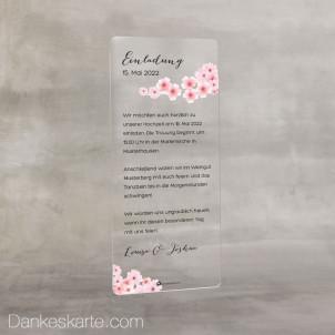 Hochzeitseinladung Acrylkarte Kirschblüten 9 x 20 cm