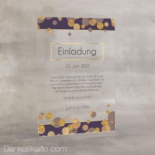 Hochzeitseinladung Acrylkarte Purple Gold 14 x 20 cm
