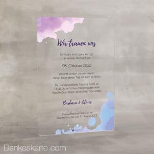 Hochzeitseinladung Acrylkarte Tintenkleckse 14 x 20 cm