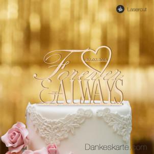 Cake Topper Forever & Always personalisiert - Buchenholz - XL