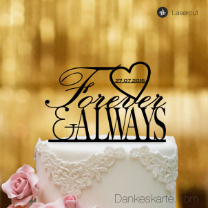 Cake Topper Forever & Always - Schwarz - XL