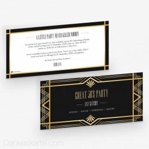 Geburtstagseinladung Gatsby 21 x 10 cm