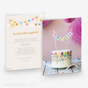 Geburtstagseinladung Party Cake 15 x 21cm