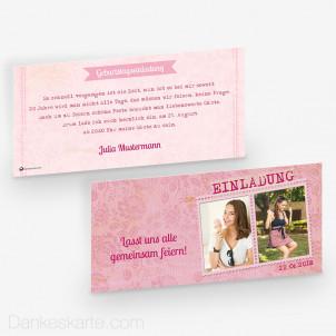 Geburtstagseinladung Pink Stamp 21 x 10 cm