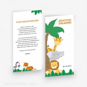 Geburtstagseinladung Comic Safari 10 x 21 cm