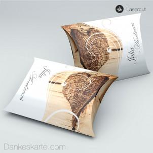 Gastgeschenkverpackung Kissen Imago 3 Holzherz  11 x 7 cm