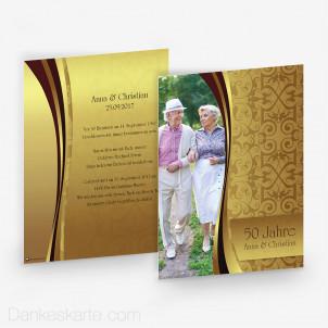 Hochzeitseinladung Damast One Gold 15 x 21 cm