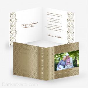 Hochzeitseinladung Damast Royal Gold 14.5 x14.5 cm