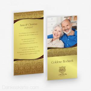 Hochzeitseinladung Damast Two Gold 10 x 21 cm