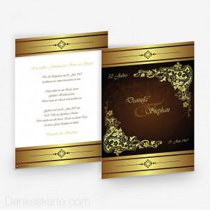 Hochzeitseinladung Royal Gold 15 x 21 cm