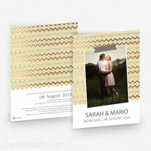 Hochzeitseinladung Gold Tribal 15 x 21 cm