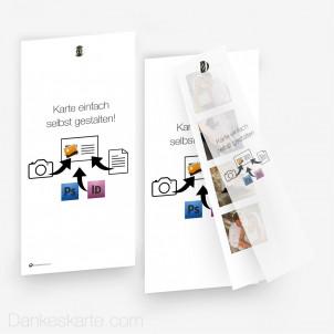 Doppelseitig mit Fotostreifen Eigenes Design 10 x 21 cm