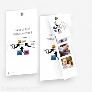 Doppelseitig mit Fotostreifen und Anhänger Eigenes Design 10 x 21 cm