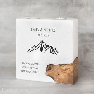 Hochzeitskerze mit Holzelement Bergleidenschaft 20 x 20 cm