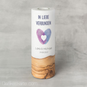 Hochzeitskerze mit Holzelement Fingerabdruck Herz 9 x 25 cm