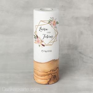 Hochzeitskerze mit Holzelement Glamourös 9 x 25 cm
