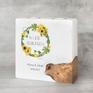 Hochzeitskerze mit Holzelement Sonnenblumen 20 x 20 cm
