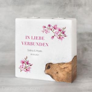 Hochzeitskerze mit Holzelement Magnolie 20 x 20 cm