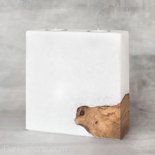 Kerze mit Holzelement Blanko 20 x 20 cm