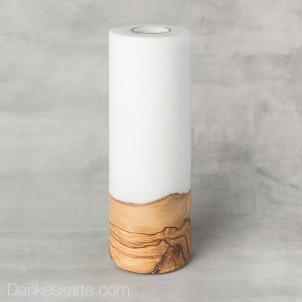 Kerze mit Holzelement Blanko 9 x 25 cm