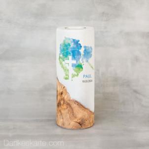 Taufkerze mit Holzelement Aquatöne 8 x 20 cm