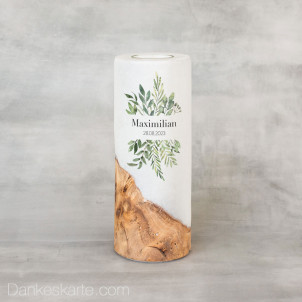 Taufkerze mit Holzelement Greenery 8 x 20 cm