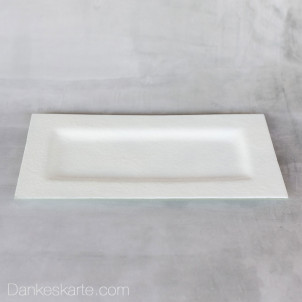 Kerzenteller Glas weiss 29x15cm