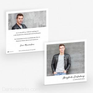 Konfirmationskarte Polaroid Stil 14.5 x 14.5 cm