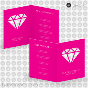 Menükarte Farbenfroh Diamant Lasercut 15 x 21 cm