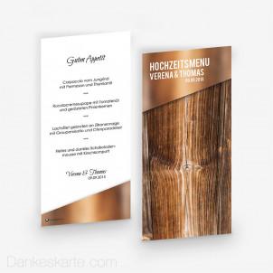 Menükarte Glas und Holz 10 x 21 cm