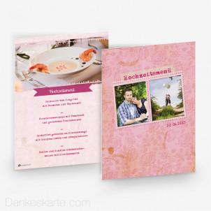 Menükarte Pink Stamp 15 x 21 cm