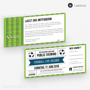 Partyeinladung Fussball Ticket 21 x 10 cm