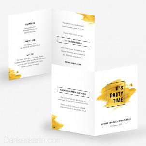 Partyeinladung Goldene Zeiten 10 x 15 cm