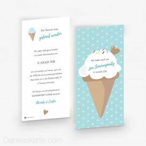 Partyeinladung Ice Cream 10 x 21 cm