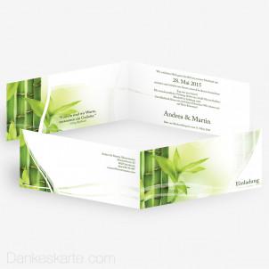 Hochzeitseinladung Semi Bambus 21 x 10 cm